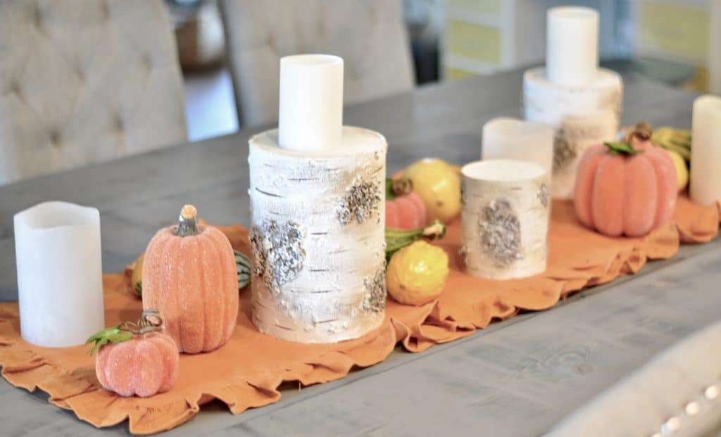 easy fall dining table display centerpiece