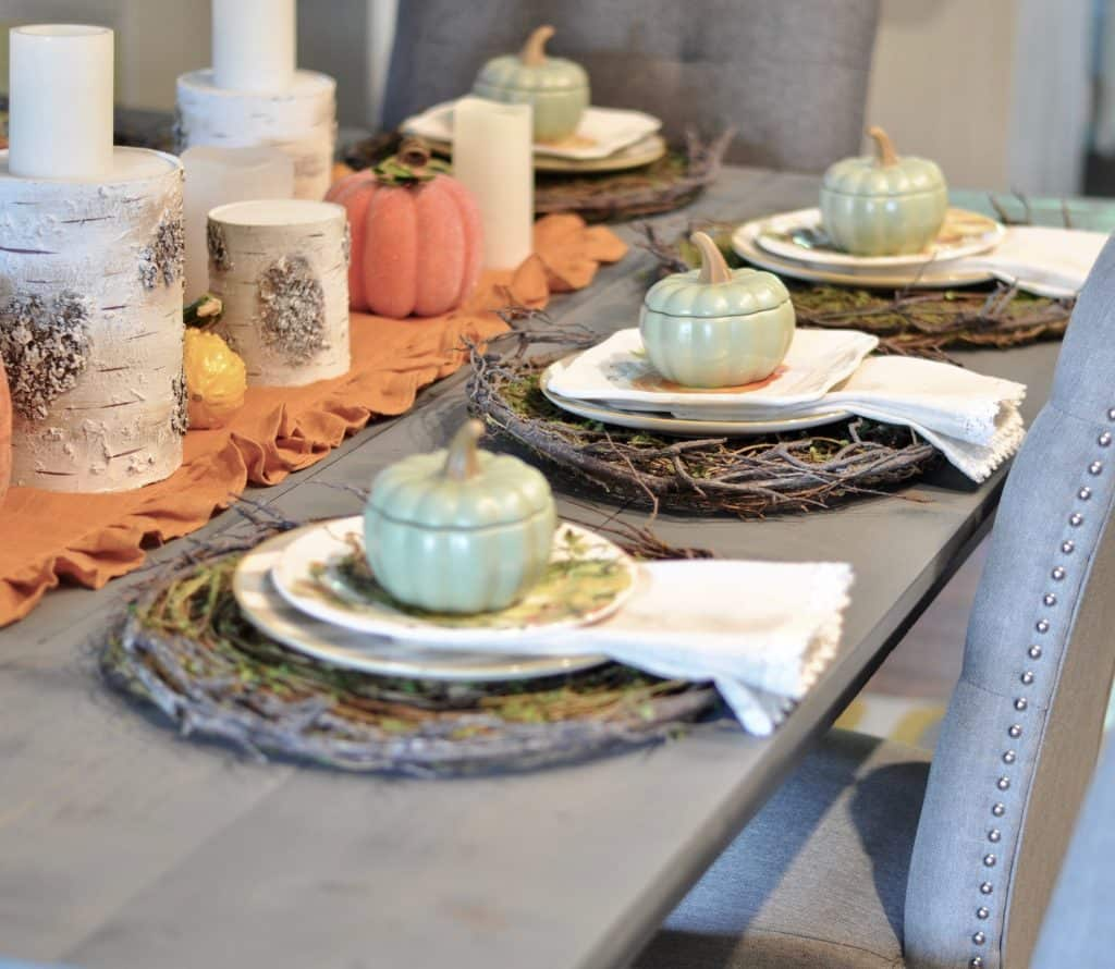 pumpkin theme simple fall dining table