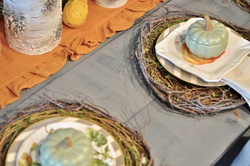 fall or halloween table with place setting