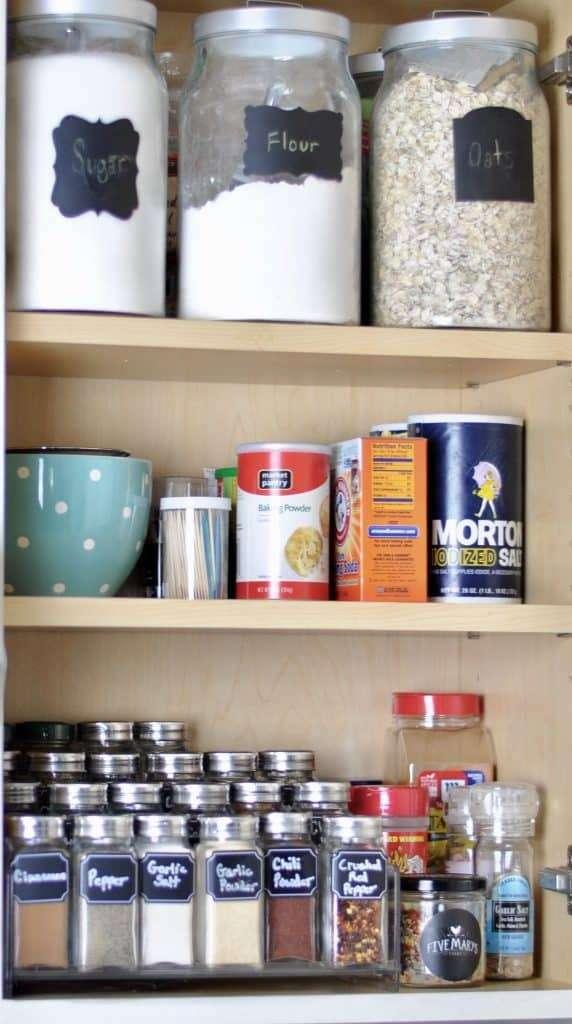 Organized Spice Cabinet