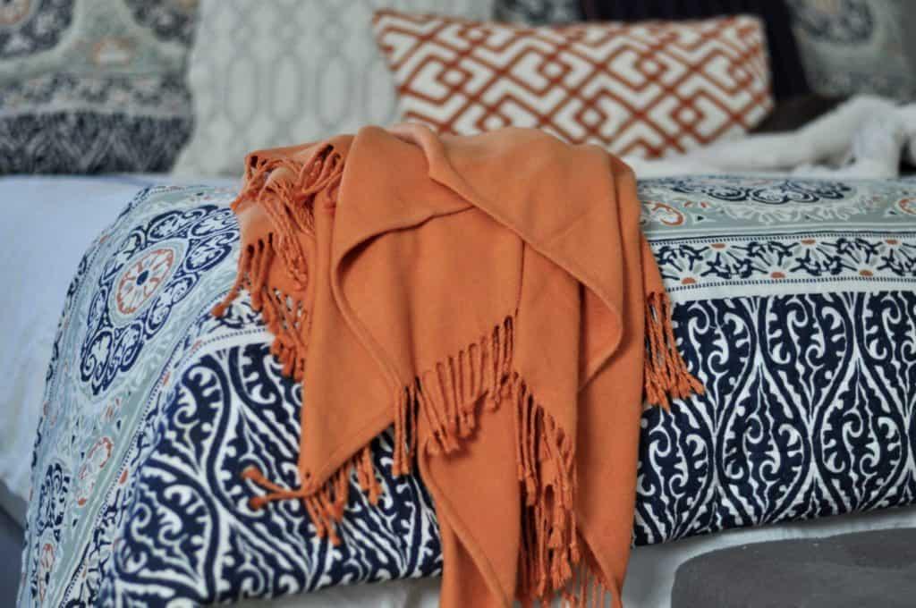 Bedroom Intentional Edit Orange Blanket