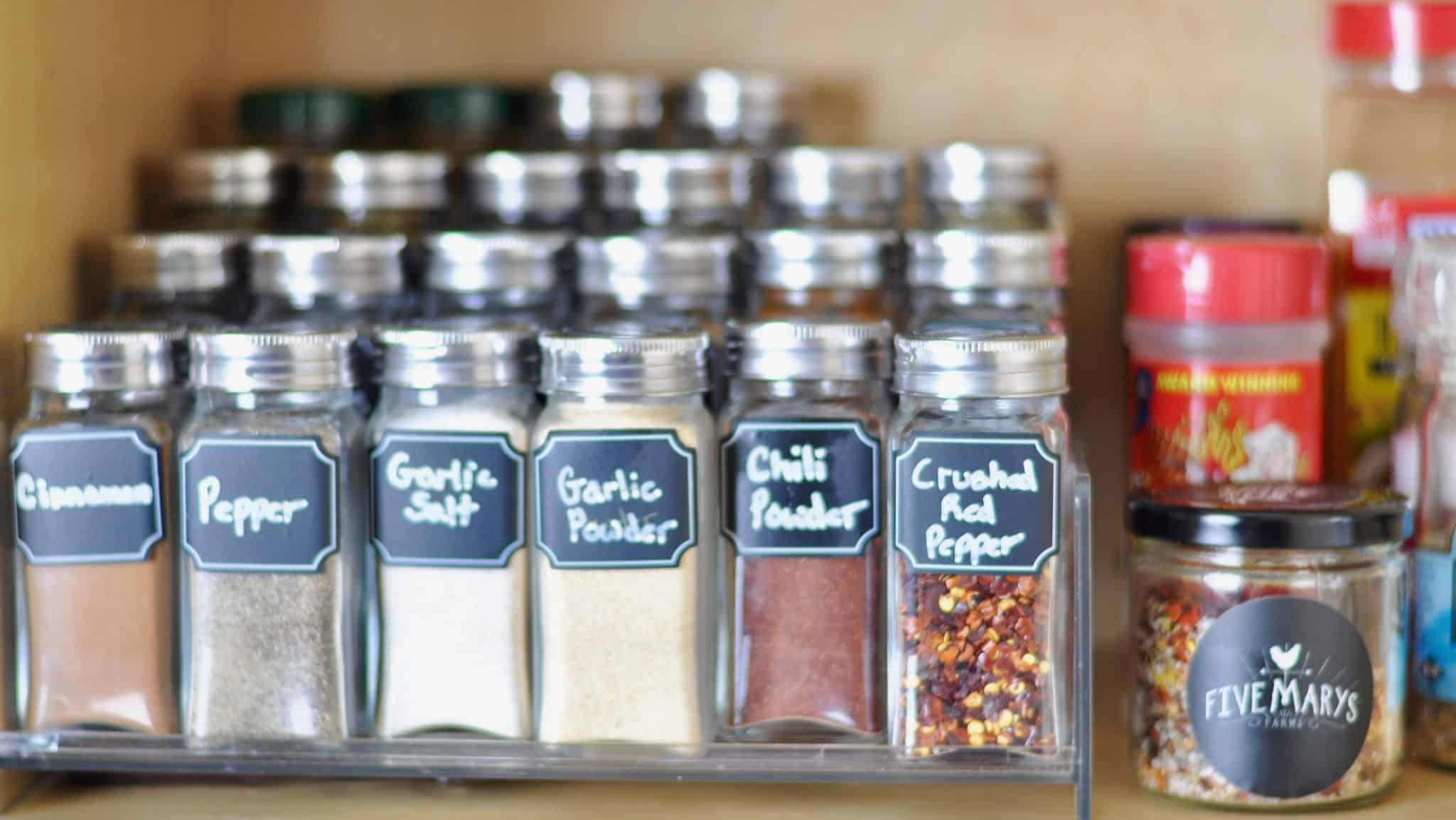 Organized Spices Cabinet