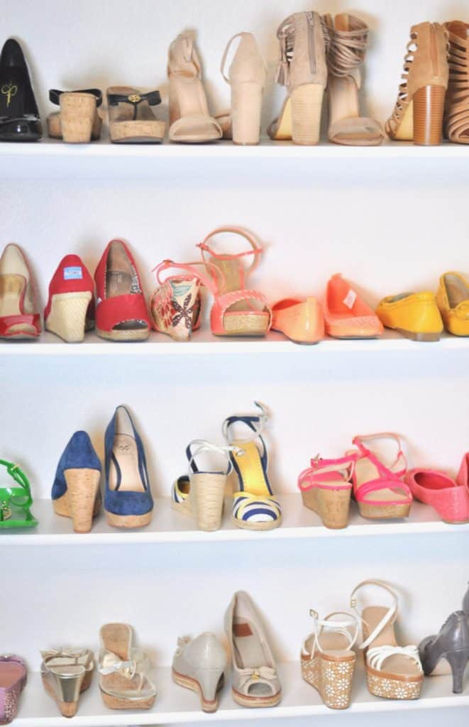 women shoes organized closet colorful
