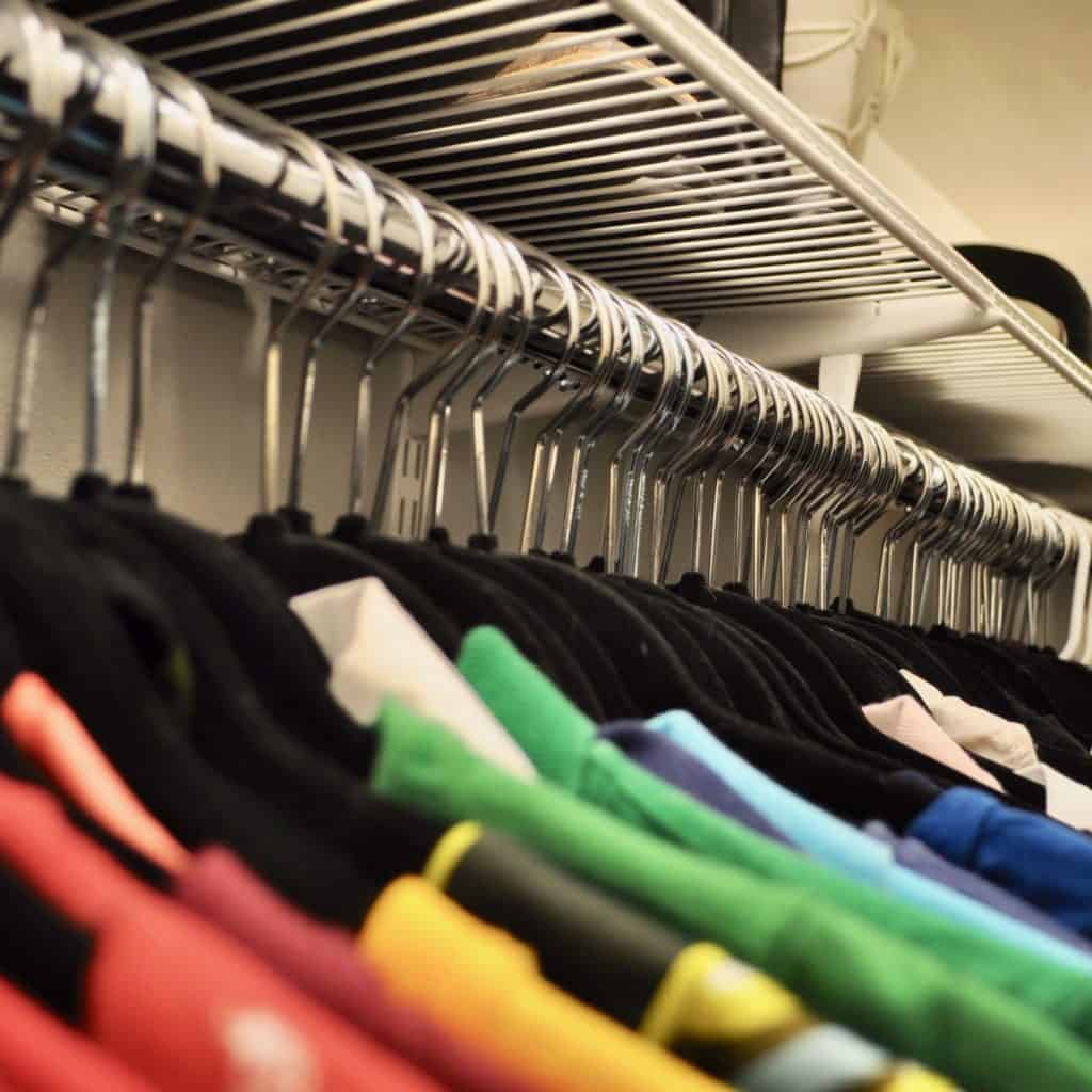 Black Hangers, ROYGBIV clothes in closet