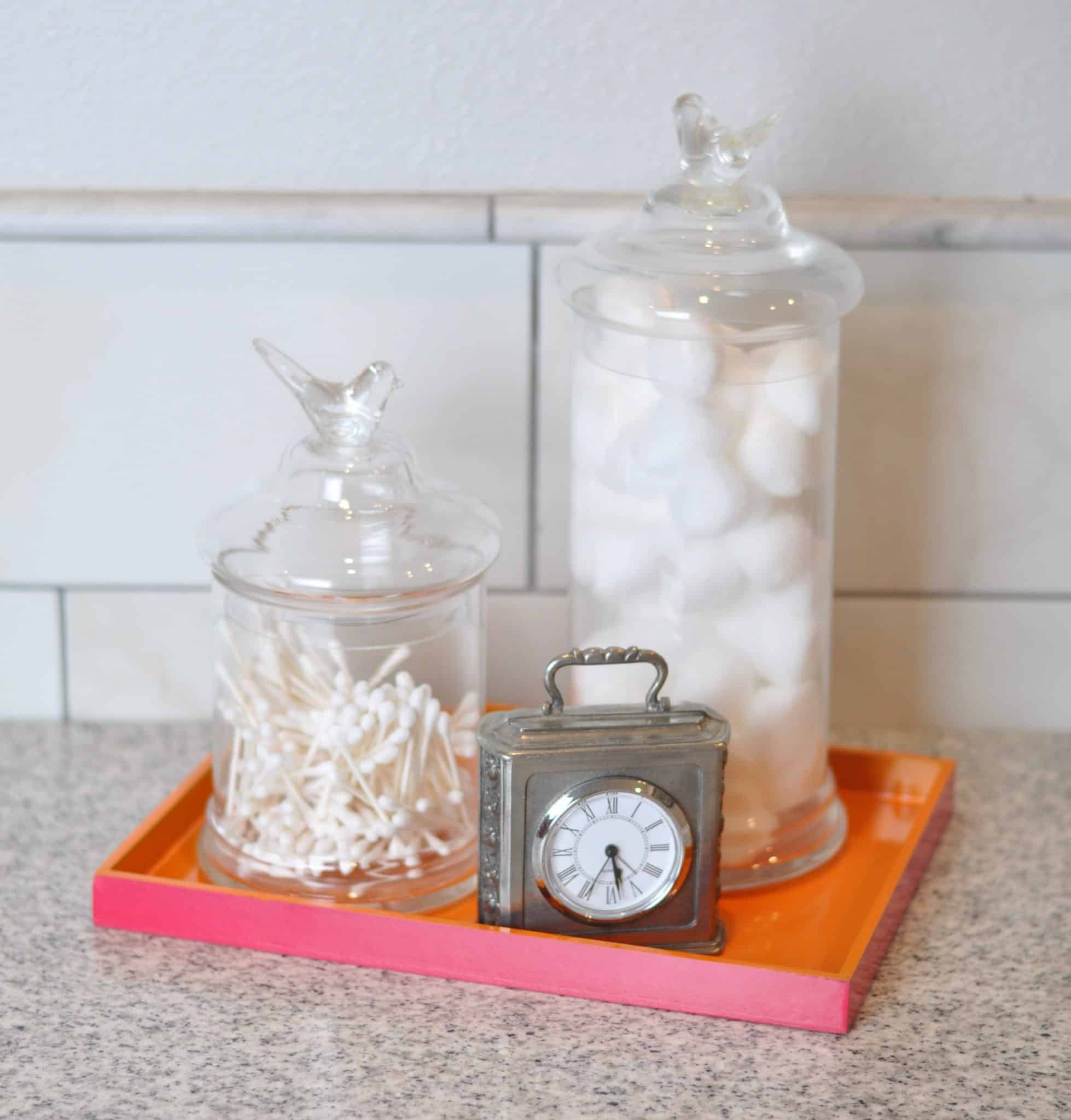 bathroom tray with storage jars, practical storage and organization