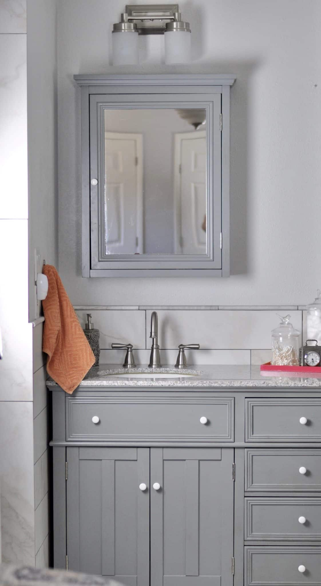 bathroom remodel double vanity single sink side with mirror and faucet