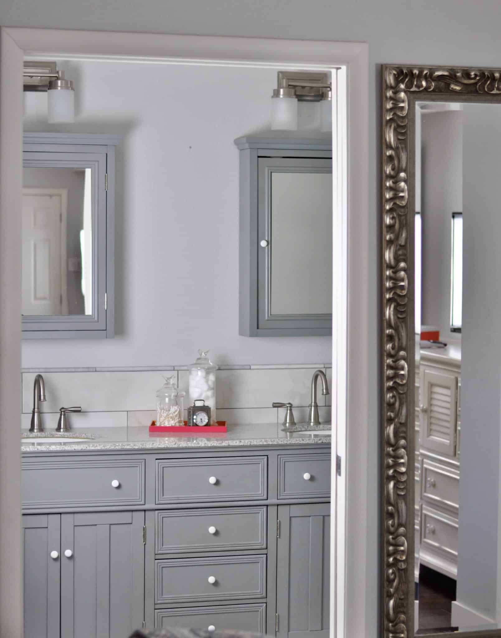 Bathroom Double Sink Vanity Monochromatic Gray and White bathroom