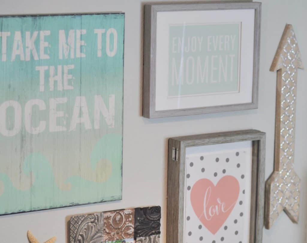 beach themed gallery wall home office