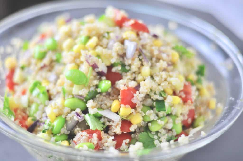 Edamame cucumber quinoa salad meal easy recipe cooking