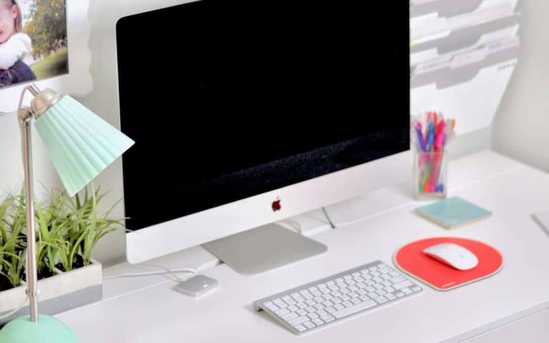 desk with iMac