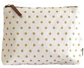 zipper pouch gold dot