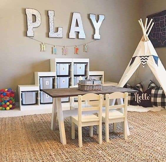 organized playroom with tee pee