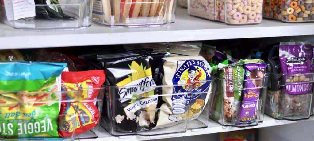 snack size organized pantry plastic container