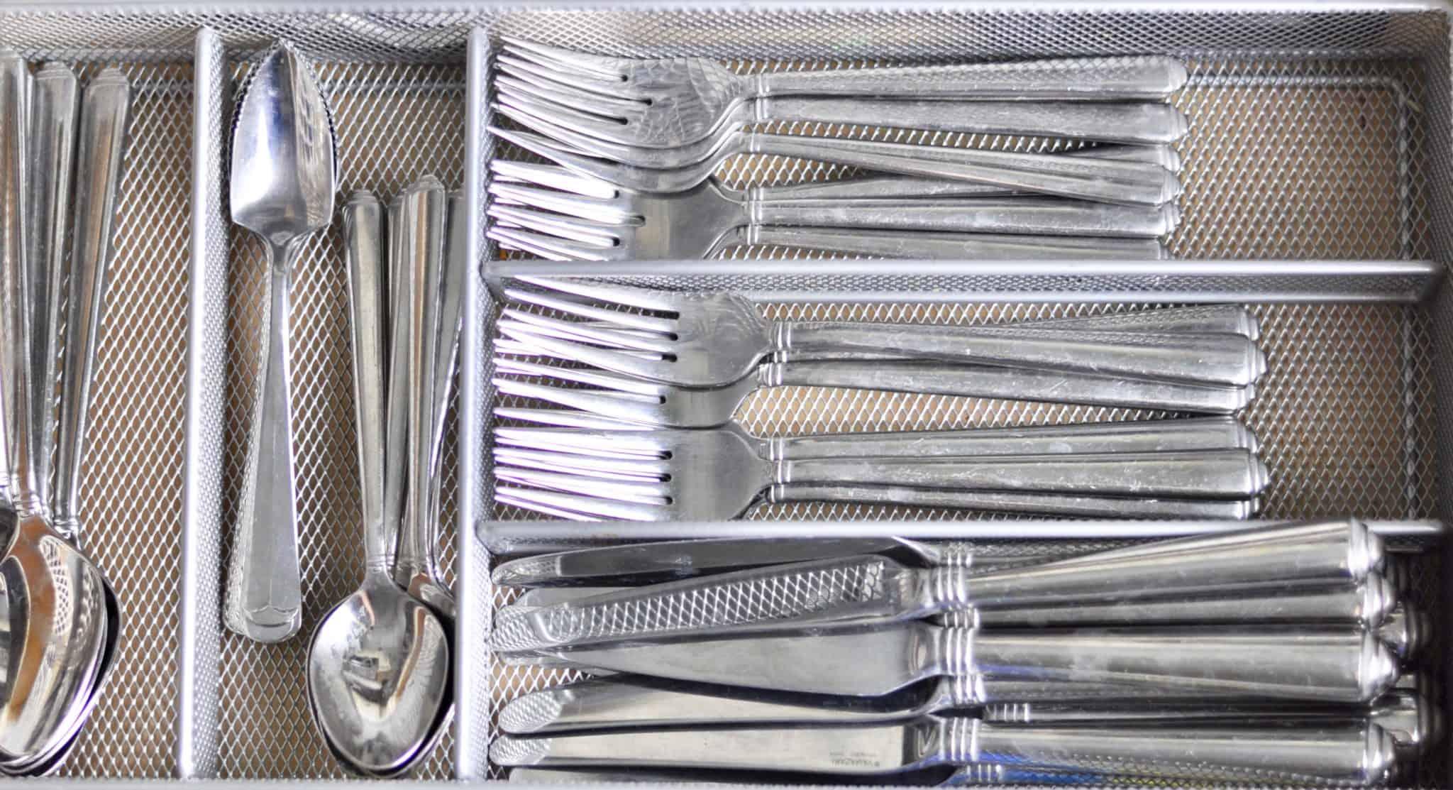 organized kitchen utensils silverware