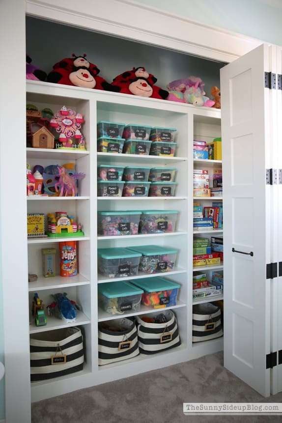organized toy closet playroom