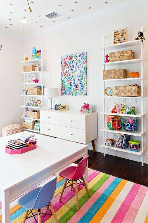 bright colorful organized playroom