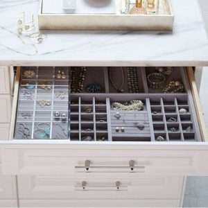 large organized jewelry drawer with dividers