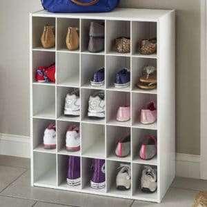 organized shoe storage shelves