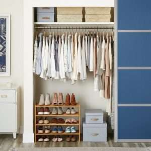 Container Store Elfa Closet Organized With Shoe Rack