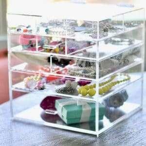 acrylic jewelry box drawer organizer