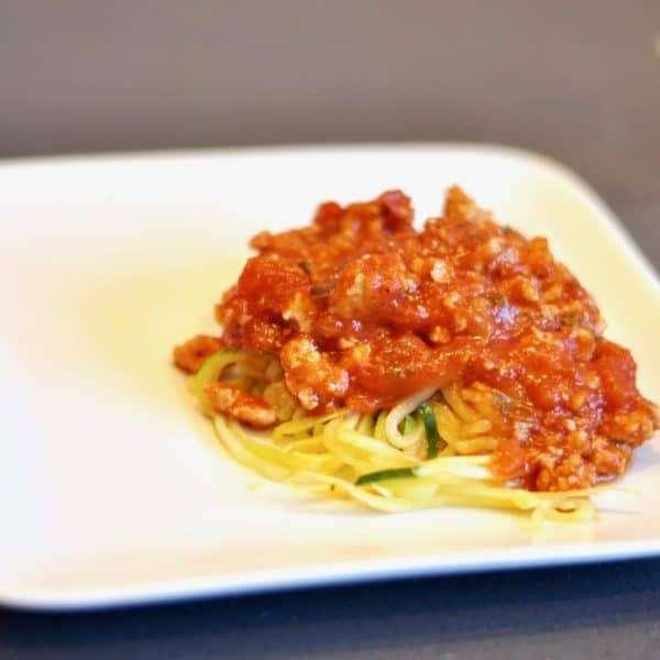 zucchini noodles and marinara - noodles