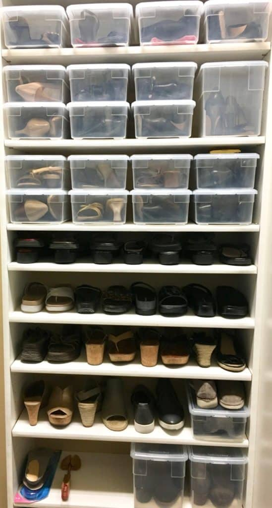 organized master closet shoe shelves storage containers