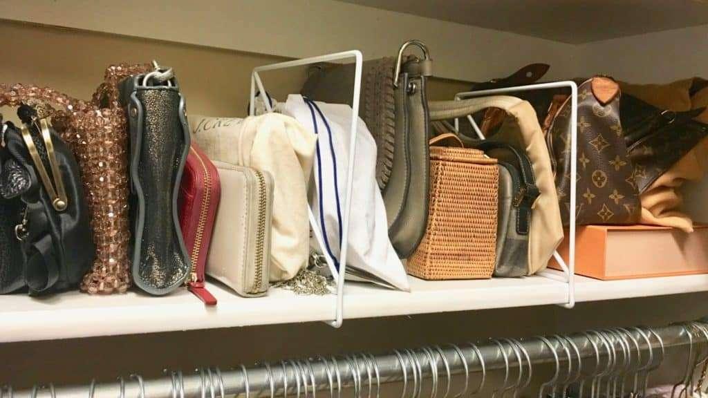 organized purse bag shelf closet