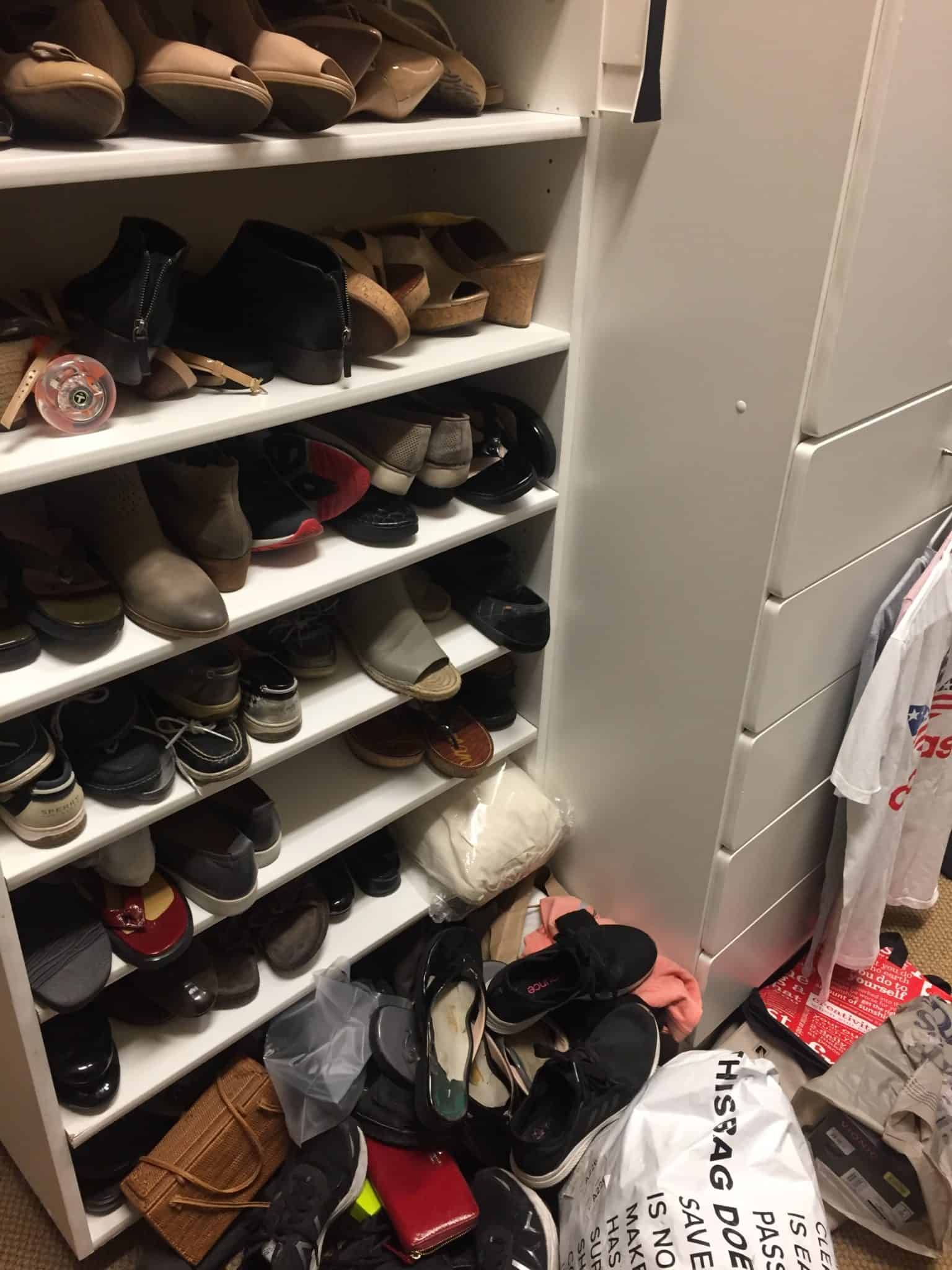 messy shoe closet before organized