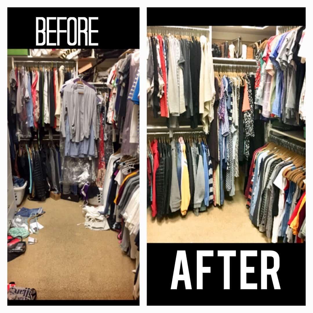 Arizona closet organized before and after