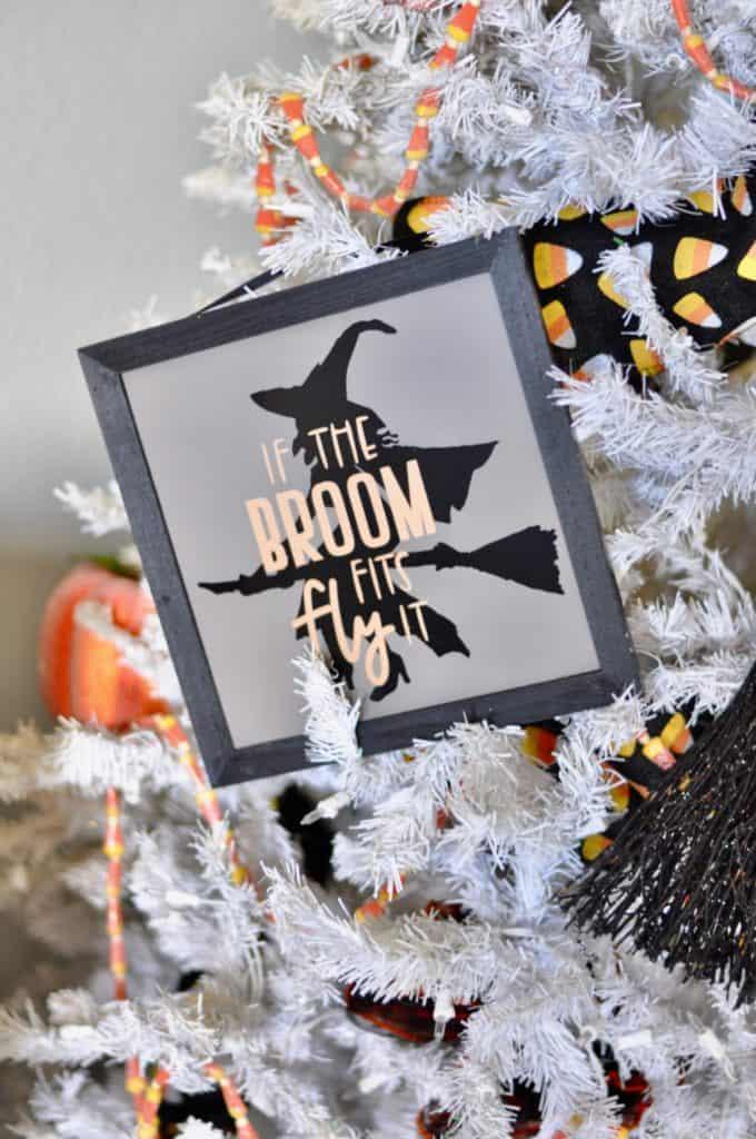 Halloween tree, happy witch decorations