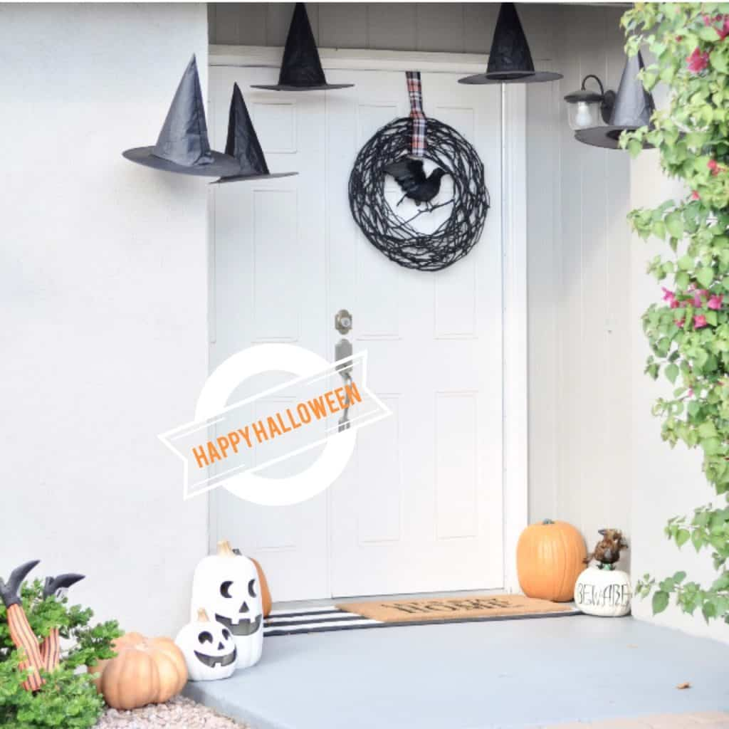 halloween front porch pumpkin witch