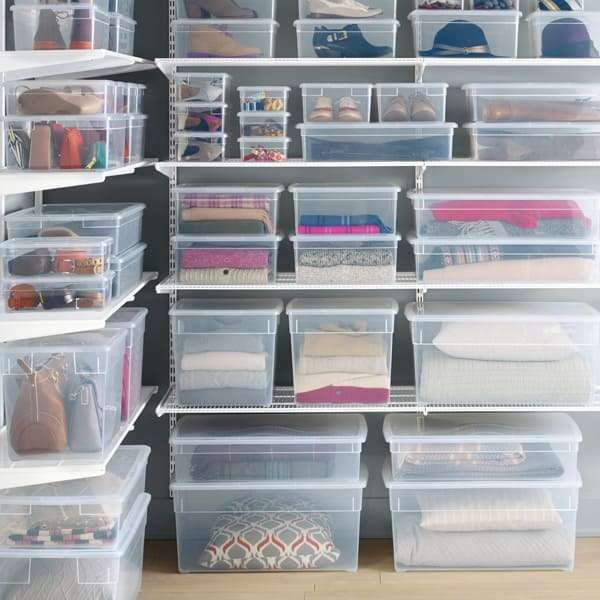 Our clear storage box from The Container Store