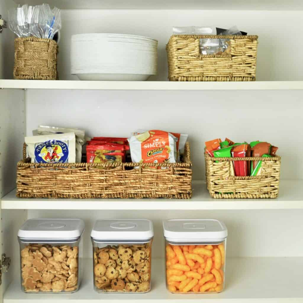 pantry snack station organized