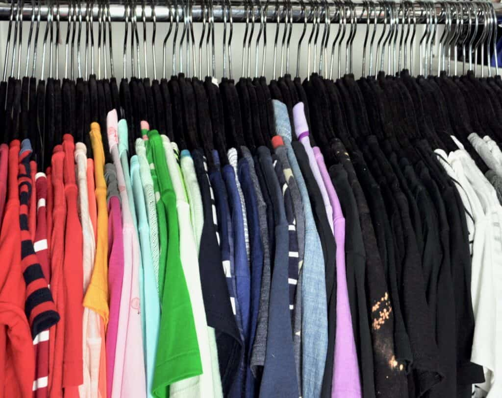 Clothing organized in color order