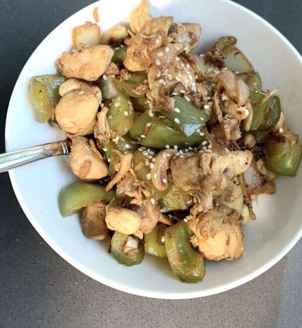 low carb cashew chicken over cauliflower rice