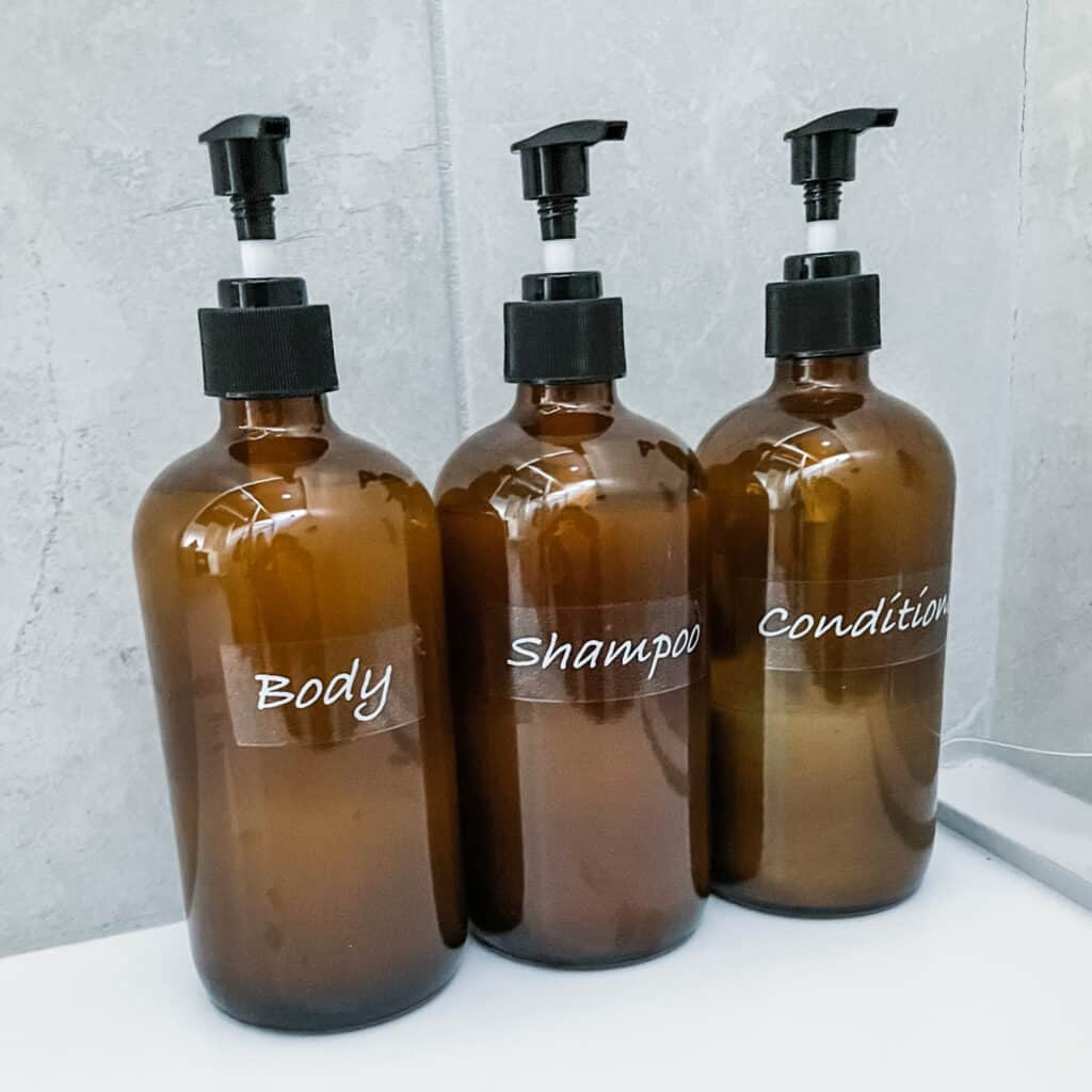 Amber Bath Bottles with pups lids, set of 3 for shampoo conditioner and body wash