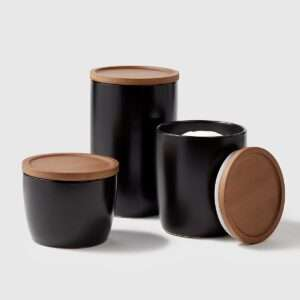 black canisters with wood lid