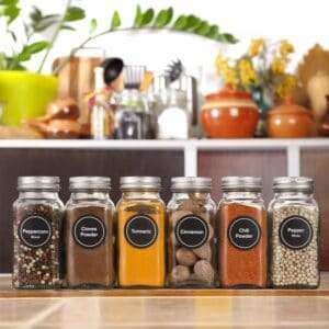 Glass jars Organizing spices with labels