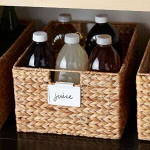 baskets labels for food kitchen pantry organization