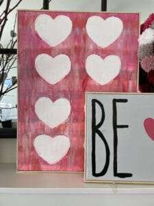 Hearts Arts and Crafts Canvas for Valentine's Day Mantel Display