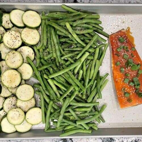 sheet pan salmon and vegetables easy dinner recipe