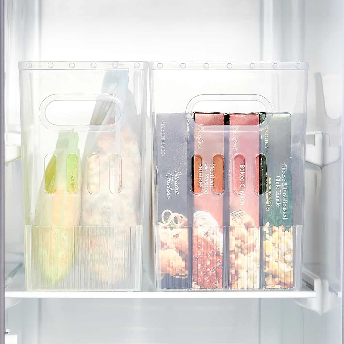 Best bins for your deep freezer drawer organization - multi-purpose bins from The Container Store
